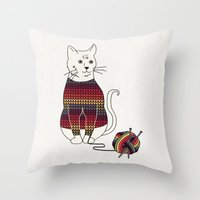 Knitted Cat Throw Pillow