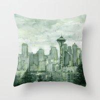 Seattle Skyline Watercol… Throw Pillow