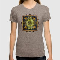 Golden Filigree Mandala Womens Fitted Tee Tri-Coffee SMALL