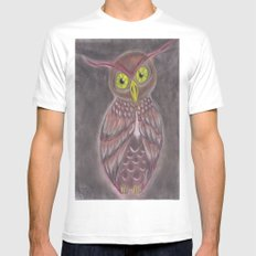 Stylized Owl White Mens Fitted Tee SMALL