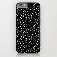 PolkaDots-White On Black iPhone 6 Slim Case