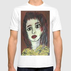 THE WORRIED GIRL White Mens Fitted Tee SMALL