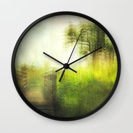Wall Clock featuring Connie's Backyard 02 by The Last Sparrow