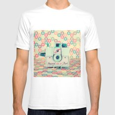 Film Mint Camera on a Colourful Retro Background  White Mens Fitted Tee SMALL