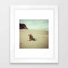 Dachshund on Beach, Humboldt County, CA Framed Art Print