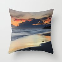 Magic red clouds. Sea dreams Throw Pillow