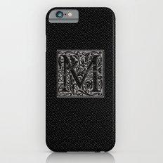 silver flourish monogram - M iPhone 6 Slim Case