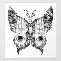 hate love butterfly Art Print