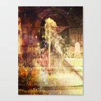 Fountains of Sparkling Champagne. Canvas Print