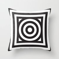 Stripes Circle Square Black & White Throw Pillow