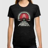 Dawn Of The Zombie Pirat… Womens Fitted Tee Tri-Black SMALL