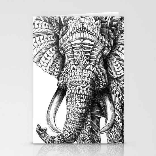Ornate Elephant Stationery Card
