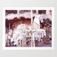 Paris Carousel Horses Art Print