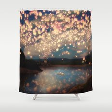 Love Wish Lanterns Shower Curtain