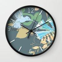 Hummingbird leaf tangle Wall Clock