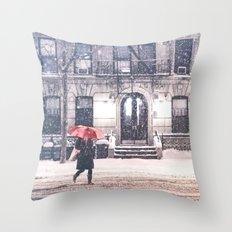 New York City Snow and Red Umbrella Throw Pillow