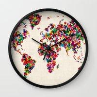 Butterflies Map of the World Map Wall Clock