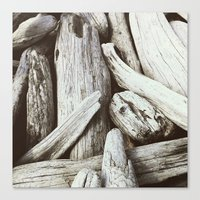 Driftwood Pattern Beach … Canvas Print