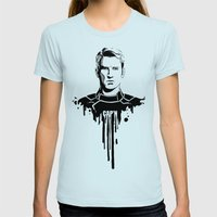 Avengers In Ink: Captain… Womens Fitted Tee Light Blue SMALL