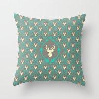 Oh Deer (white) Throw Pillow