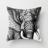 Throw Pillow featuring Ornate Elephant V.2 by BIOWORKZ