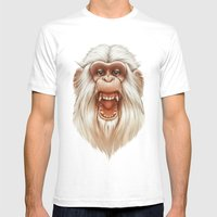 The White Angry Monkey Mens Fitted Tee White SMALL