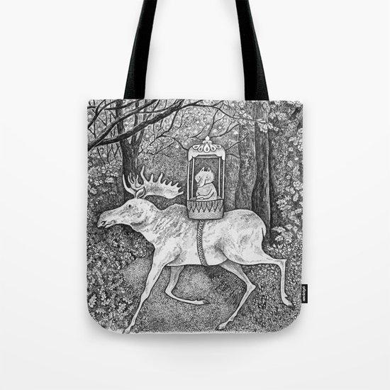 Fox riding moose Tote Bag