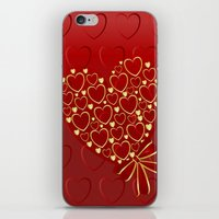 Gold hearts on rich red iPhone & iPod Skin