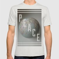 Peace Mens Fitted Tee Silver SMALL