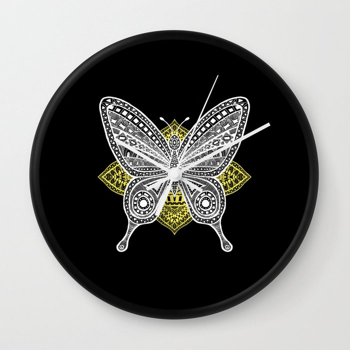 The Butterfly Watercolor Illustration on Wall Clock by Haidi Shabrina