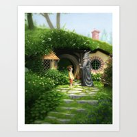 Bilbo Meets Gandalf Art Print