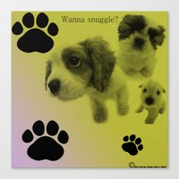 Puppy Snuggle Pillow Canvas Print