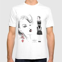 Black Lace Mens Fitted Tee White SMALL