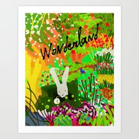 alice in wonderland Art Prints featuring Wonderland by Invisible Machinery