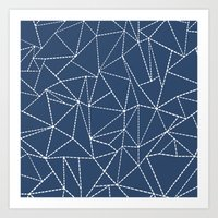 Ab Dotted Lines Navy Art Print