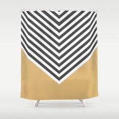 Gold Chevron Shower Curtain