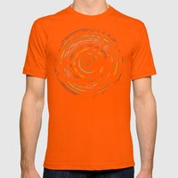 Rainbow Record on Black Mens Fitted Tee Orange SMALL