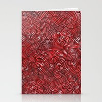 Red And Black Doodles Stationery Cards