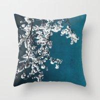 White Blossoms Throw Pillow