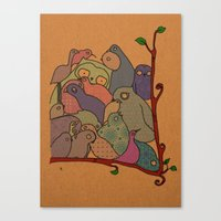 A bunch of birds in blue mosaic  Canvas Print