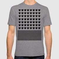 Heart Stripes Black on White Mens Fitted Tee Tri-Grey SMALL