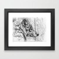 Wolf in woods G082 Framed Art Print