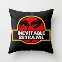 Jurassic Betrayal Throw Pillow
