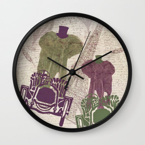 Two elephants in Paris Wall Clock