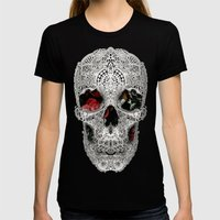 Lace Skull Light Womens Fitted Tee Black SMALL