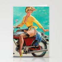 Gil Elvgren - Motorcycle Pinup Girl Stationery Cards