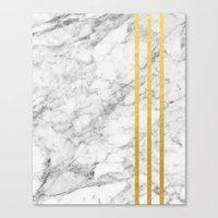 Marble & Gold Stripes II Canvas Print