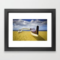 Outrigger Canoe On Beach Framed Art Print