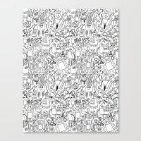 Infinity Robots Black & … Canvas Print