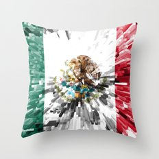 Mexico Flag - Extrude Throw Pillow